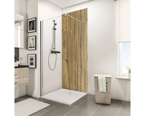 Zadní stěna sprchového koutu Schulte Decodesign dekor dřevo dub Schwarzwald 150x255 cm
