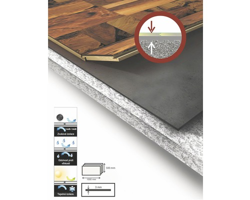 Izolační podložka Decor Floor 3 x 500 x 1000 mm pod plovoucí podlahy balení 10 ks