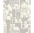 Vliesová tapeta, motiv města, bílo-béžovo-šedá, svítící prvky