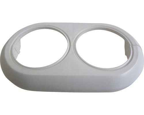 Dvojitá krytka bílá, rozteč otvorů 50 mm