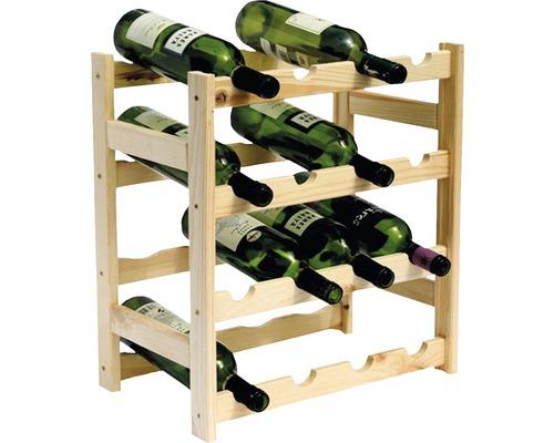 Dřevěný regál na víno pro 16 lahví 540x430x250 mm 4 police přírodní
