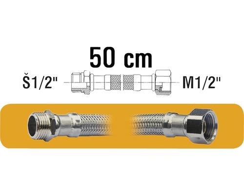 """Hadice pro připojení vodáren M1/2""""xŠ1/2"""" 50 cm nerez"""