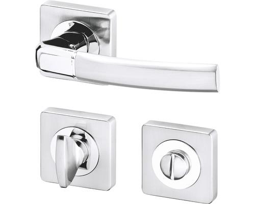 Rozetové dveřní kování na WC Kiel R, chrom / efekt nerez