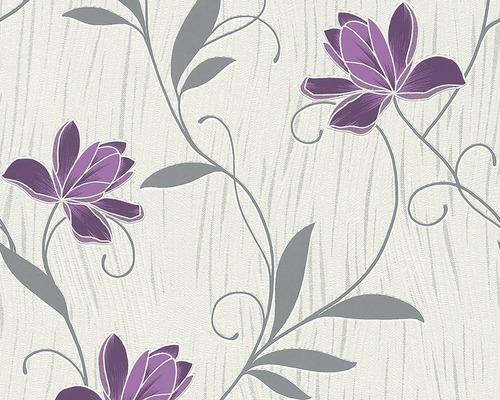 Vinylová tapeta, motiv květiny, béžovo-fialovo-šedá