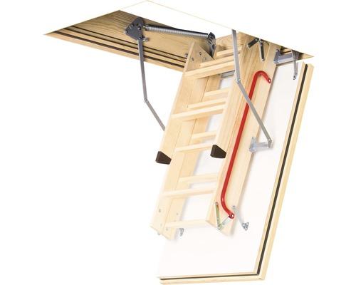 Půdní schody protipožární Fakro LWF 45 termo 120 x 70 cm, 3dílné, vč. bezpečnostního madla a patek