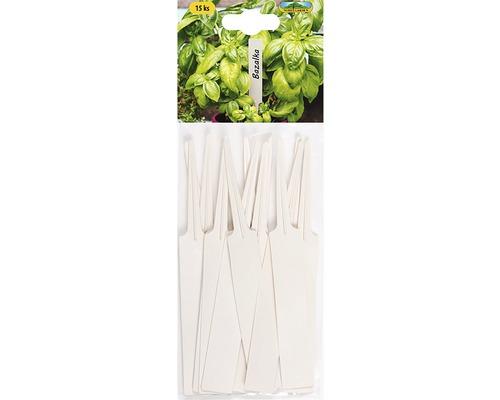 Jmenovky na rostliny zapichovací 14x1,8 cm 15 ks béžové