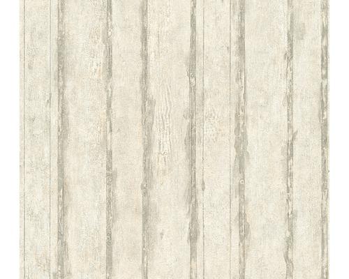 Vliesová tapeta, motiv dřevo, šedo-béžová