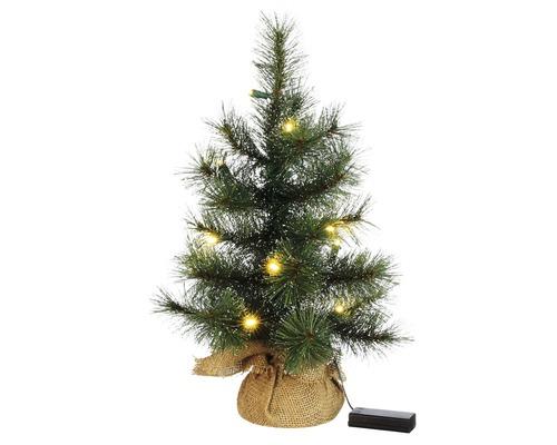 Umělý vánoční stromek v jutovém obalu 45 cm s 10 LED osvětlením na baterie, teplé bílé světlo