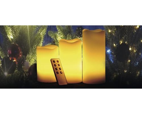 Svíčka LED 3 ks Lafiora na baterie Ø 7,5 x 10/12/15 cm s časovačem krémová