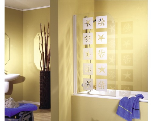 Vanová zástěna otočná Schulte 1dílná dekor mušle, alpská bílá