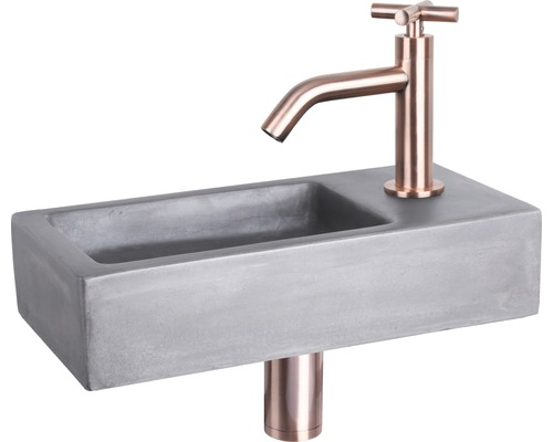 Umývátko Hura beton měď 37,5x18,5x9 cm umyvadlová baterie 3