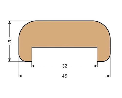 Smrkové madlo zábradlí M1 20 x 45 x 2500 mm