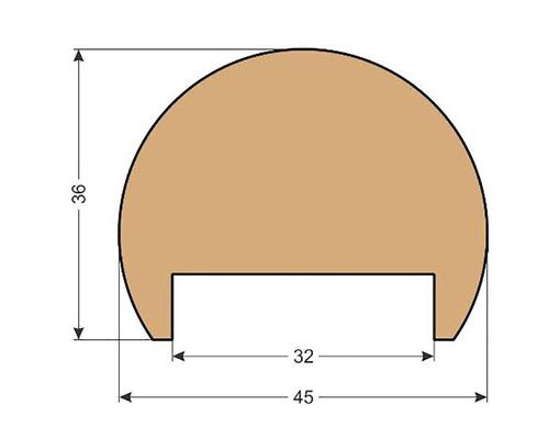 Smrkové madlo zábradlí K1 36 x 45 x 2500 mm