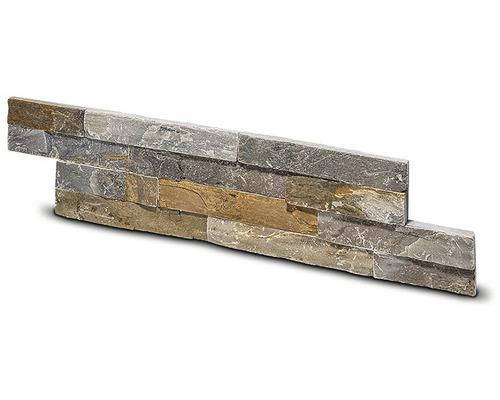 Obklad břidlice šedožlutý přírodní kámen 10x40 cm