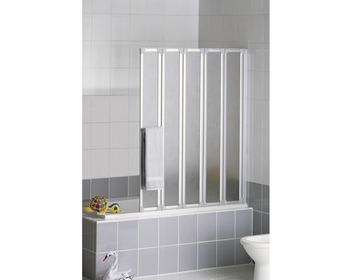 Vanová shrnovací zástěna Schulte 5dílná dekor Softline, světlá přírodní hliník včetně držáku na ručníky