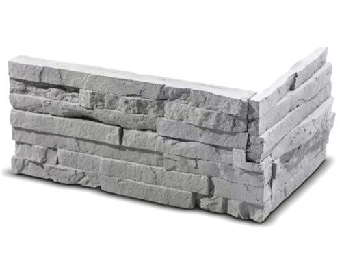 Obkladový kámen rohový Tepic šedý 33x14,5x14,5x2,5 cm