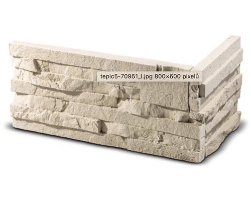 Obkladový kámen rohový Tepic krémový 33x14,5x14,5x2,5 cm