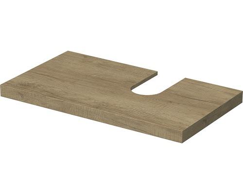 Deska pod umyvadlo Intedoor Landau dub 90 cm s otvorem vpravo pro umyvadlo Jungborn Slimline Nissa