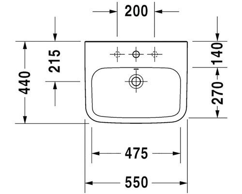 Umyvadlo Duravit DuraStyle 55x44 cm D 0708450000