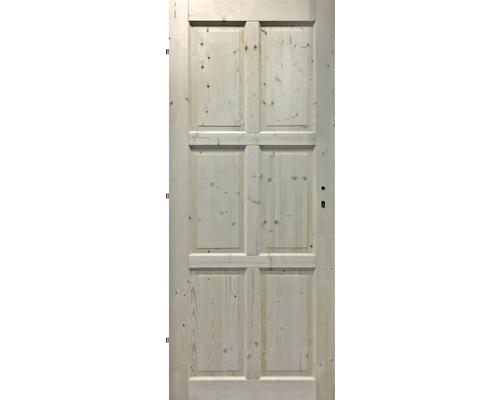 Interiérové dveře masivní 6K plné, 80 L, smrk