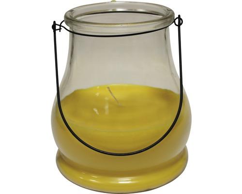 Vonná svíčka ve skle venkovní citronela Ø 15 x 18 cm žlutá