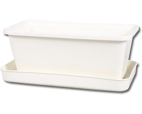 Truhlík s podmiskou plastový MINIGARDEN 21 cm bílý