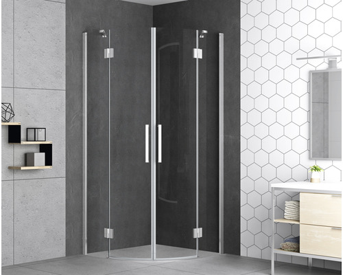 Sprchový kout Basano Romallo 100x100 cm dvoukřídlé dveře