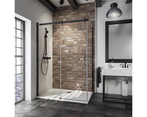 Posuvné dveře s boční stěnou Schulte Alexa Style 2.0 Black Style 120x90 cm čiré sklo barva profilu černá