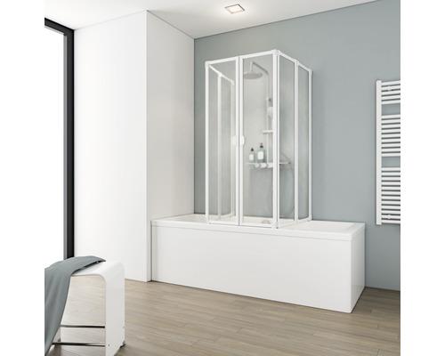 Vanová shrnovací zástěna Schulte 2 x 3dílná dekor Softline, světlá alpská bílá