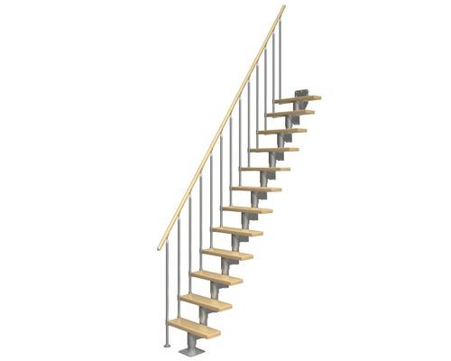 Schodiště se střední schodnicí Pertura Spiros buk vlašský ořech Š: 65 cm, 13 stupňů, rovné