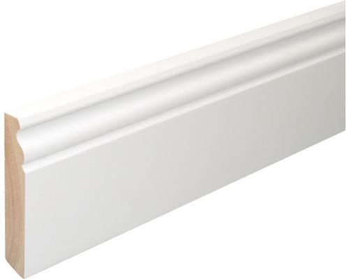 Podlahová lišta Konsta SF380 18 x 96 x 2400 mm smrk bílý lakovaný