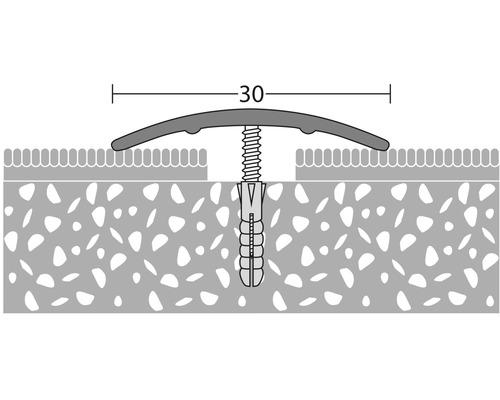 ALU přechodový profil, zlatý, 1m 30x1,6mm; šroubovací (předvrtaný)