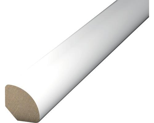 Čtvrtkruhová lišta bílá; 12x12mm 2,5m