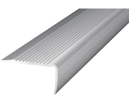 ALU schodový profil NOVA, stříbrný 45x23mm; 2,7m; šroubovací předvrt.
