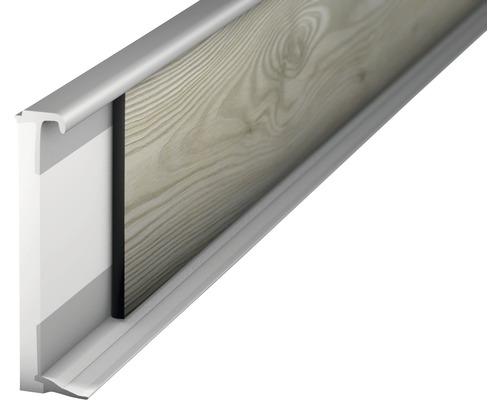Vlepovací lišta k design podlaze stříbrná 2,0-3,5mm;2,5m;58mm
