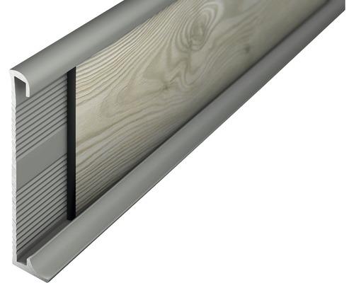 Alu soklová lišta 2,7m 60mm titan bez děrování
