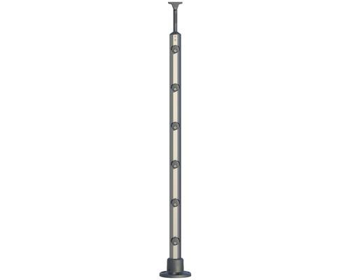 Kulatá hliníková zábradelní podpěra Pertura pro montáž k podlaze (138)