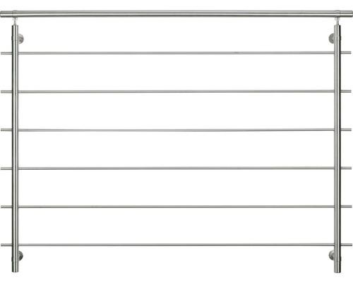 Kompletní sada zábradlí Pertura nerez pro francouzská okna s vodorovnými kulatými tyčemi Š: 1,2 m