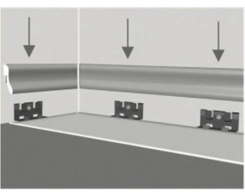 Montážní klipy pro uchycení podlahové lišty 25 ks vč. hmoždinek a vrutů